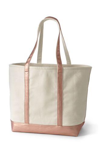 Extra Large Natural Metallic Open Top Long Handle Canvas Tote