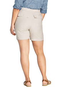 Women's Plus Size High Rise Linen Shorts, Back