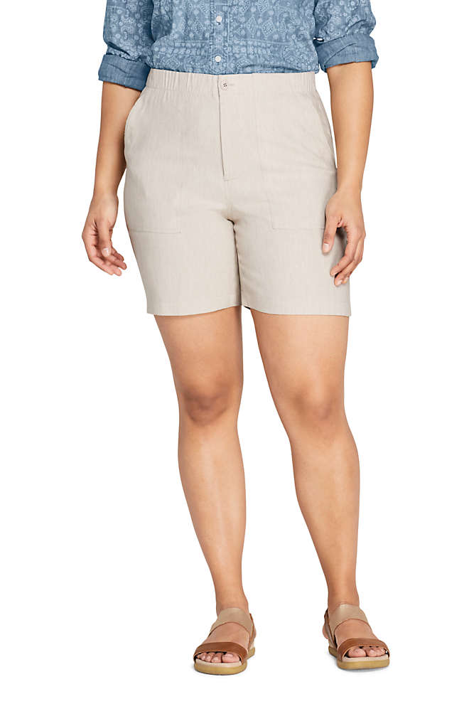 Women's Plus Size High Rise Linen Shorts, Front