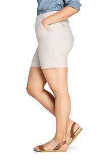 Women's Plus Size High Rise Linen Shorts, alternative image