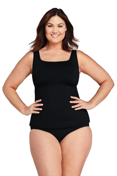 Women's Plus Size Square Neck Underwire Tankini Top Swimsuit with Adjustable Straps