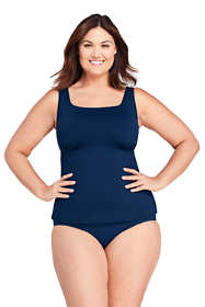 Women's Plus Size Tummy Control Square Neck Underwire Tankini Top Swimsuit with Adjustable Straps