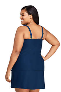 Women's Plus Size DDD-Cup Texture Square Neck Underwire Tankini Top Swimsuit with Adjustable Straps, Back