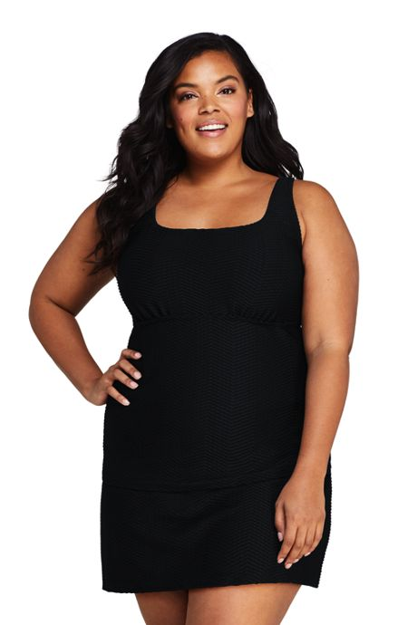 Women's Plus Size DDD-Cup Texture Square Neck Underwire Tankini Top Swimsuit with Adjustable Straps