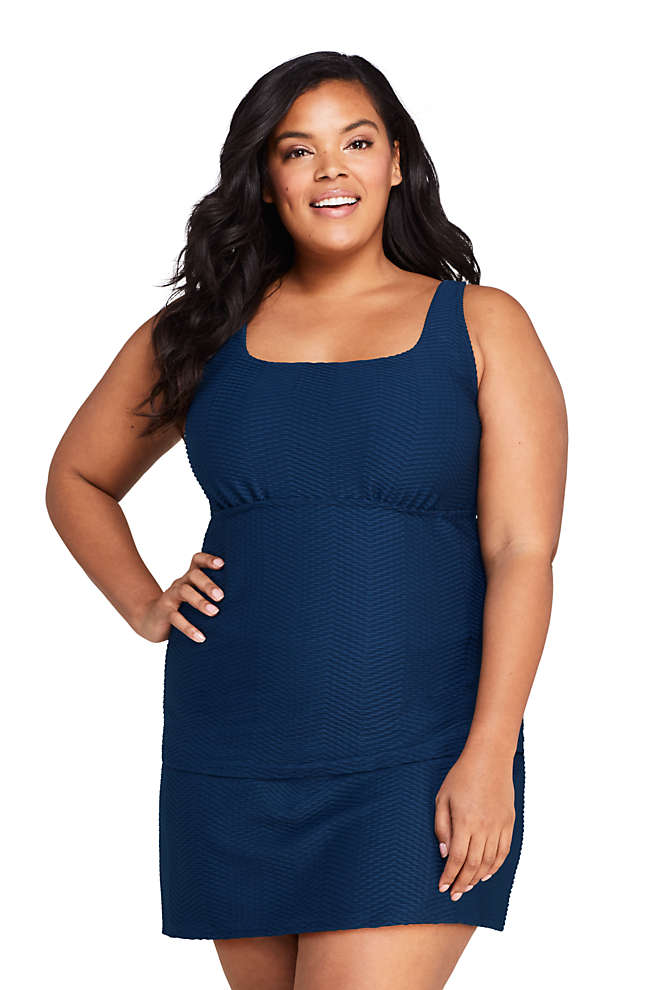 Women's Plus Size DDD-Cup Texture Square Neck Underwire Tankini Top Swimsuit with Adjustable Straps, Front