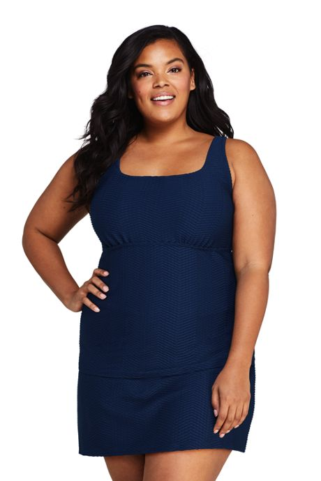 Women's Plus Size DD-Cup Texture Square Neck Underwire Tankini Top Swimsuit with Adjustable Straps