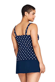 Women's Plus Size DD-Cup Square Neck Underwire Tankini Top Swimsuit with Adjustable Straps Print, Back