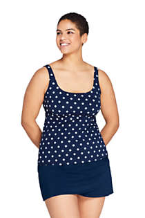 Women's Plus Size DD-Cup Square Neck Underwire Tankini Top Swimsuit with Adjustable Straps Print, Front