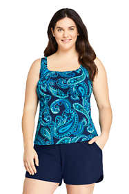 Women's Plus Size Long Square Neck Underwire Tankini Top Swimsuit with Adjustable Straps Print