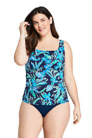 Women's Plus Size DD-Cup Square Neck Underwire Tankini Top Swimsuit with Adjustable Straps Print