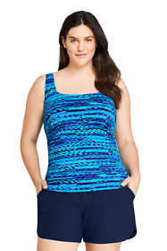 Women's Plus Size Square Neck Underwire Tankini Top Swimsuit with Adjustable Straps Print