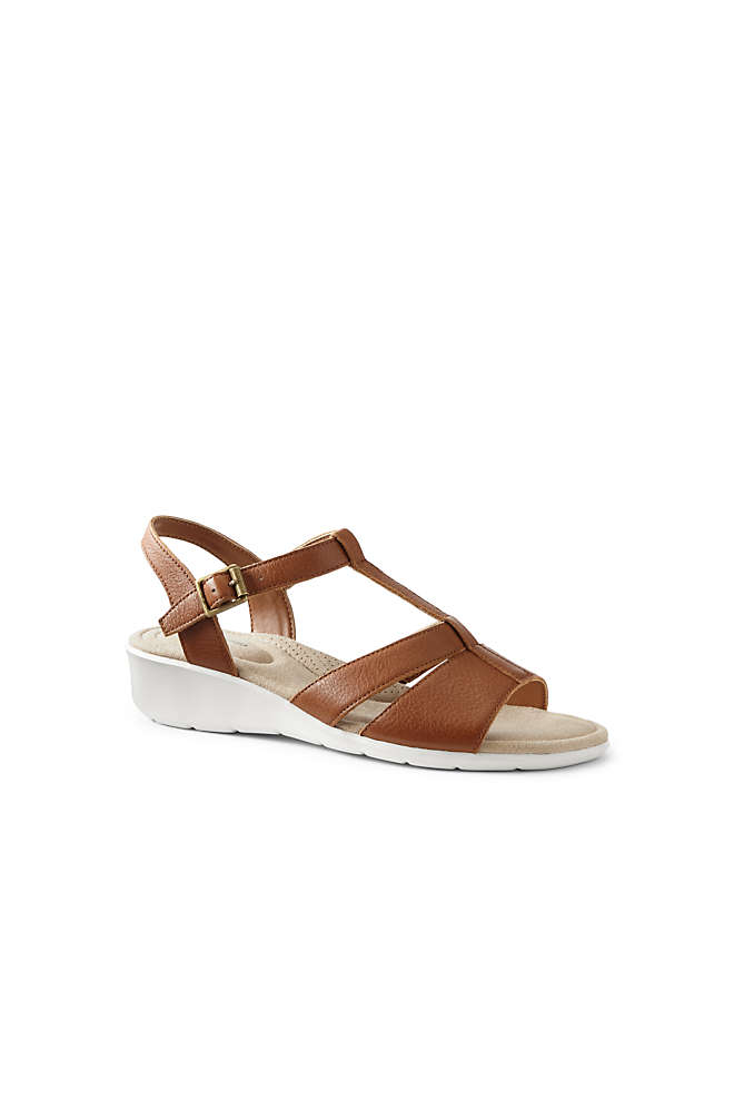 Women's Leather Comfort Wedge Sandals, Front