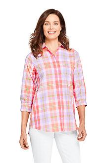 Bright Sea Blue Plaid Lands End Womens Petite Flannel Tunic Top 10