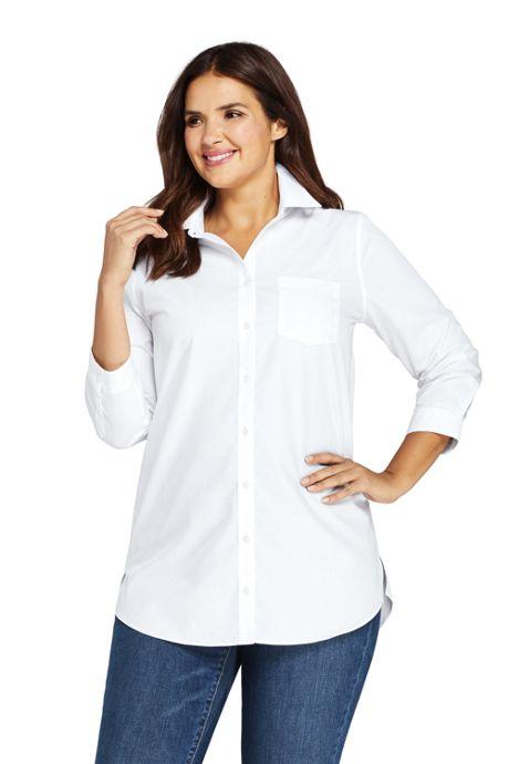 Women's Plus Size No Iron 3/4 Sleeve Pattern Tunic Top