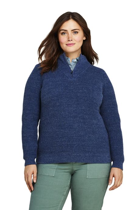 Women's Plus Size Drifter Shaker Cotton Quarter Zip Mock Neck Sweater
