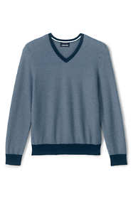 Men's Tall Texture Fine Gauge Supima Cotton V-Neck Sweater