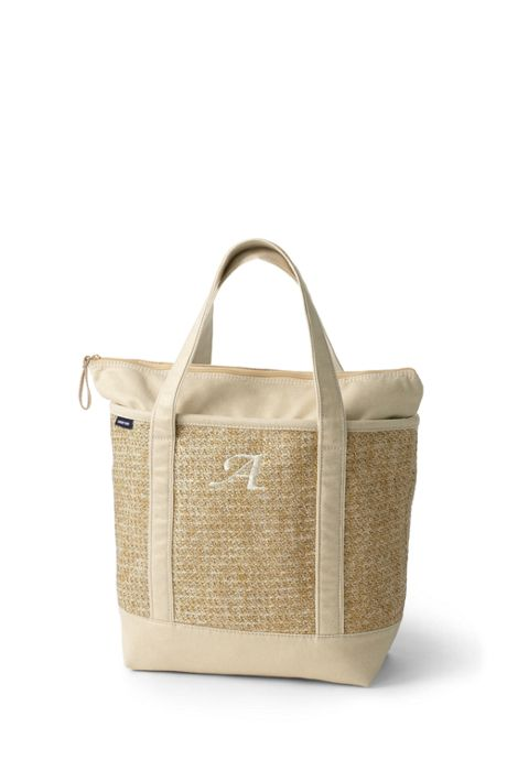 Canvas Lined Straw Medium Zip Top Tote Bag