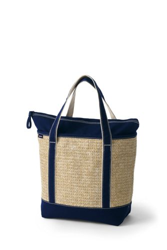 Medium Zip Top Straw Tote Bag with Canvas