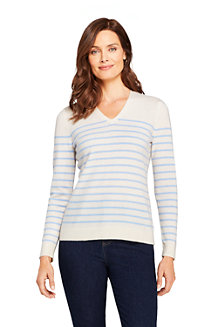 Women's Stripe Cashmere V-neck Jumper