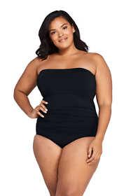 Women's Plus Size Tummy Control Strapless Bandeau One Piece Swimsuit Adjustable Straps