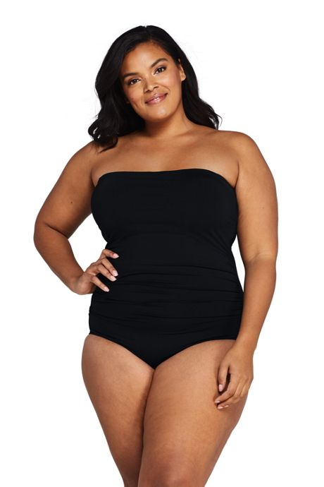Women's Plus Size Tummy Control Strapless Bandeau One Piece Swimsuit Adjustable Straps
