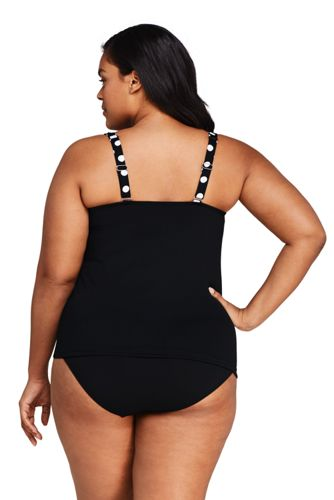 Women's Plus Size DDD-Cup Square Neck Underwire Tankini Top Swimsuit with Adjustable Straps Print