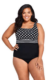 Women's Plus Size Mastectomy Square Neck Tankini Top Swimsuit with Adjustable Straps Print