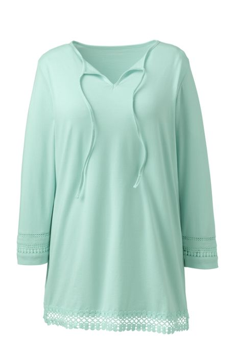 Women's Plus Size 3/4 Sleeve Trimmed Tunic Top