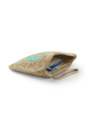 Canvas Lined Straw Medium Embroidered Zipper Pouch