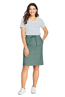 Women's Elastic Waist Stretch Linen Mix Skirt
