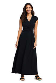 Women's Petite Cap Sleeve Surplice Wrap Maxi Dress