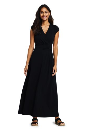 Women's Petite Cotton-modal Jersey Twist Wrap Maxi Dress