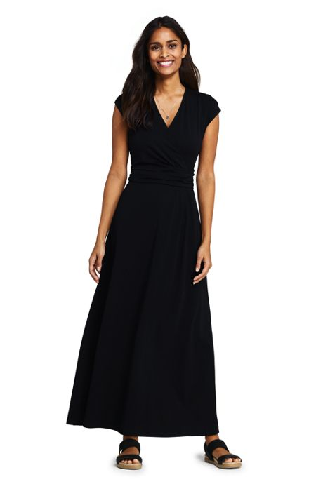 Women's Cap Sleeve Surplice Wrap Maxi Dress