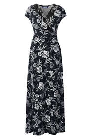 Women's Plus Size Cap Sleeve Surplice Wrap Maxi Dress - Print