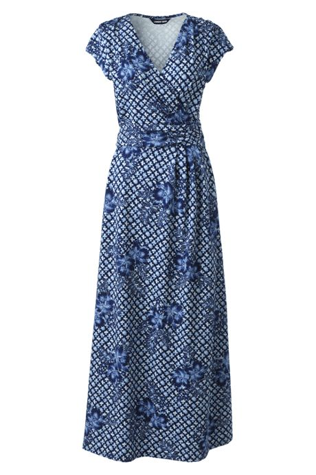 Women's Plus Size Cap Sleeve Surplice Wrap Maxi Dress - Print