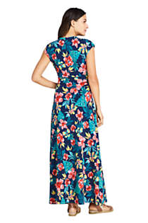 Women's Petite Cap Sleeve Surplice Wrap Maxi Dress - Print, Back