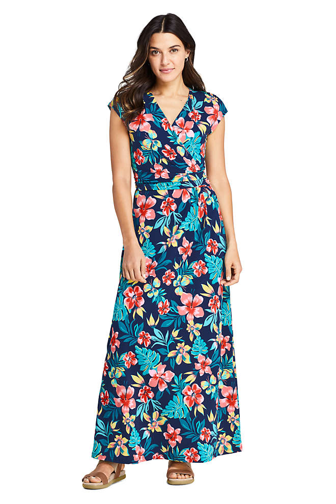 Women's Petite Cap Sleeve Surplice Wrap Maxi Dress - Print, Front