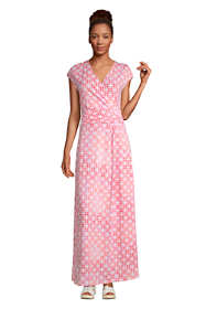 Women's Petite Cap Sleeve Surplice Wrap Maxi Dress - Print