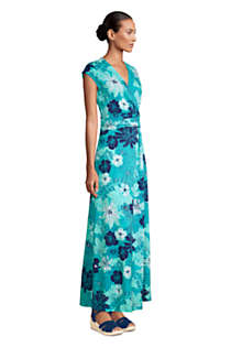 Women's Petite Cap Sleeve Surplice Wrap Maxi Dress - Print, alternative image
