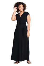 Women's Plus Size Cap Sleeve Surplice Wrap Maxi Dress