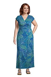 Women's Cotton-modal Jersey Twist Wrap Maxi Dress, Print