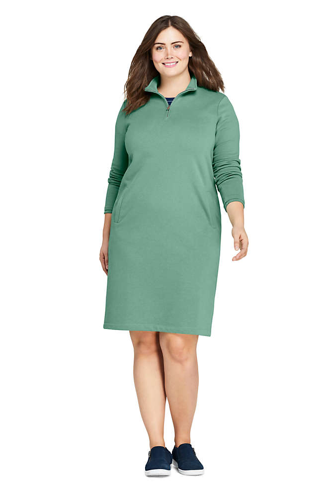 Women's Plus Size Serious Sweats Long Sleeve Quarter Zip Sweatshirt Dress, Front