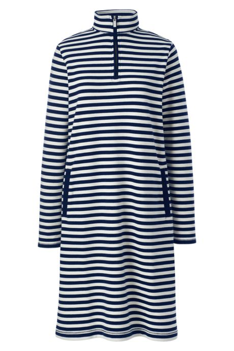 Women's Plus Size Serious Sweats Long Sleeve Quarter Zip Sweatshirt Dress
