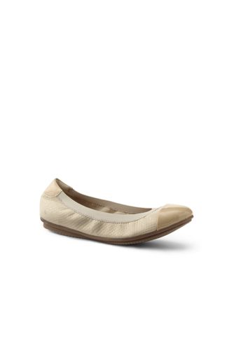 Women's Wide Comfort Elastic Suede Captoe Ballet Pumps