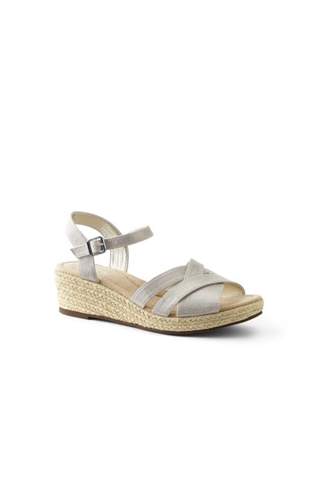 Women's Criss Cross Textile Espadrille Wedge Sandals