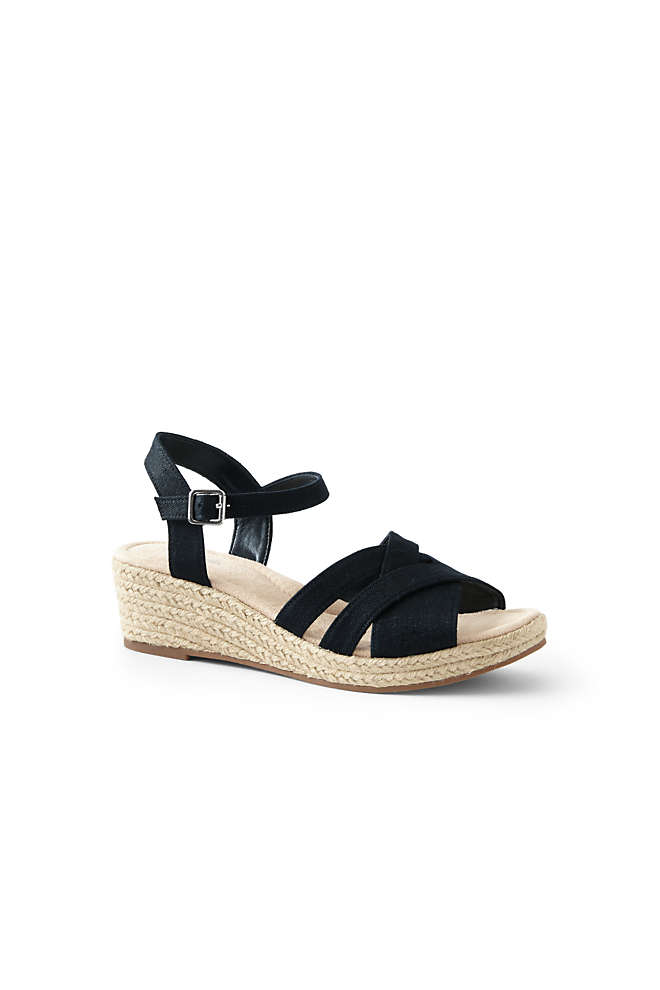 Women's Criss Cross Textile Espadrille Wedge Sandals, Front