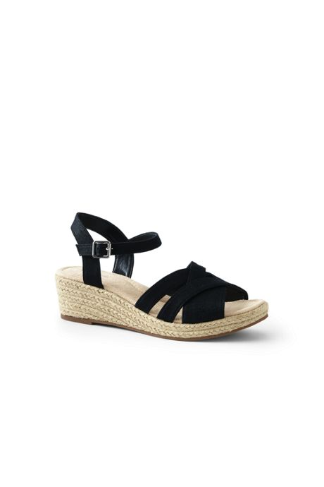 Women's Wide Criss Cross Textile Espadrille Wedge Sandals