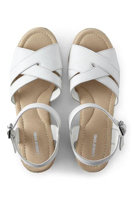 Women's Criss Cross Leather Espadrille Wedge Sandals