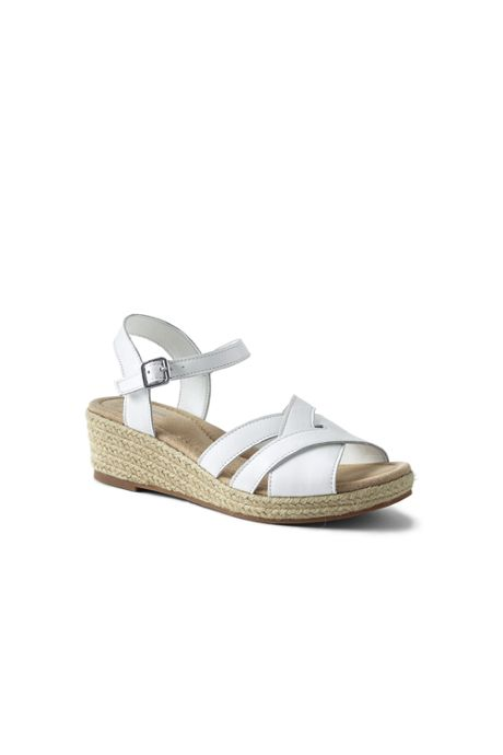 Women's Wide Criss Cross Leather Espadrille Wedge Sandals