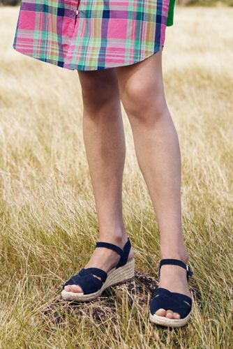 Women's Criss Cross Suede Espadrille Wedge Sandals